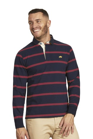 Raging Bull Red Long Sleeve Stripe Rugby Shirt
