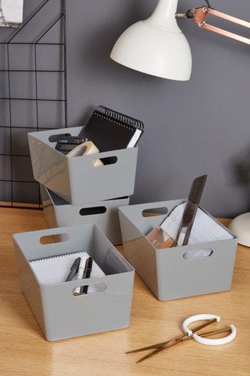 Set of 4 Wham Studio Medium Rectangle Deep Plastic Storage Baskets