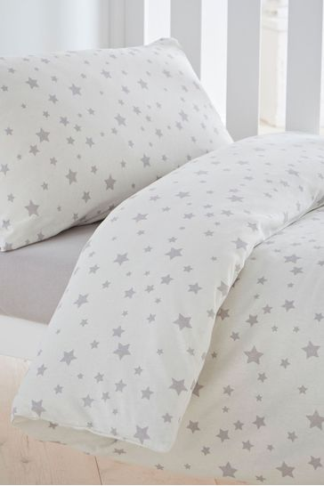 Safe Nights Pink Star Cot Bed Duvet Cover and Pillowcase Set by Silentnight