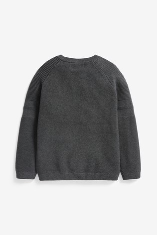 Charcoal Without Stag Textured Crew Jumper (3-16yrs)