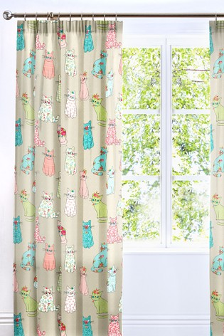 Cheeky Cats Pencil Pleat Curtains by Bedlam