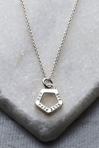Personalised Geometric Pentagon Charm Necklace by Posh Totty Designs