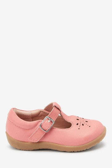 Pink Leather Wide Fit (G) First Walker T-Bar Shoes