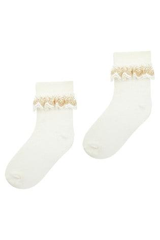 Monsoon Chloe Sparkle Gold Lace Socks