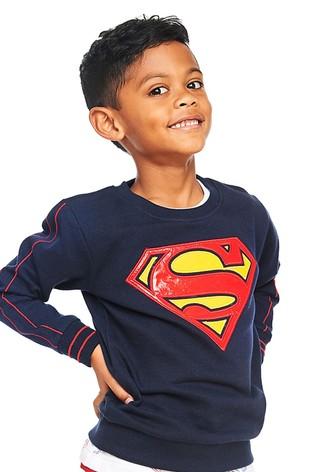 Fabric Flavours Blue DC Superman PU Logo Sweatshirt