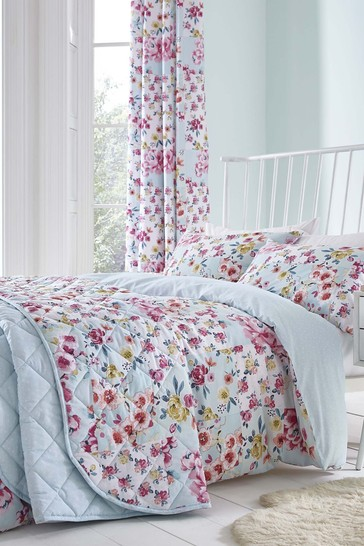 Catherine Lansfield Blue Flower Patchwork Easy Care Duvet Cover and Pillowcase Set