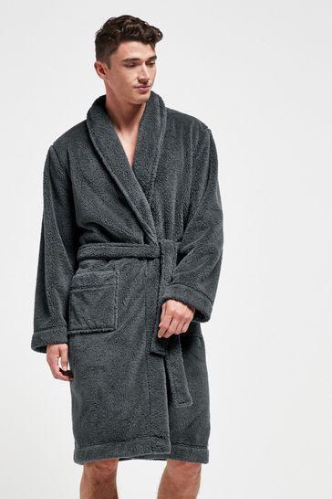 Slate Fleece Dressing Gown