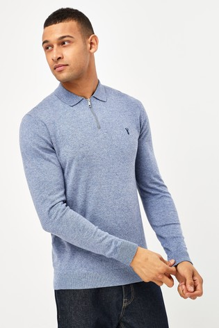 Blue With Stag Embroidery Knitted Zip Neck Polo Shirt