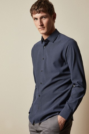 Ted Baker Blue Offme Long Sleeve Geo Print Shirt