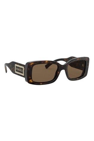Versace Dark Tortoiseshell Rectangle Sunglasses