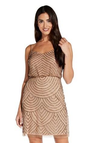 Adrianna Papell Pink Blouson Bead Dress
