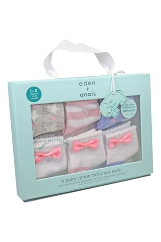 aden + anais Pink Baby Socks Six Pack Gift Set