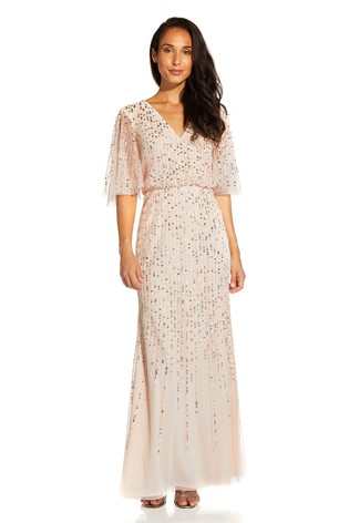 Adrianna Papell Nude Beaded Covered Blouson Gown
