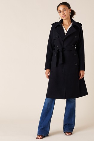 Monsoon Blue Navy Sustainable Wool Trench Coat