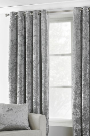Riva Home Silver Verona Crushed Velvet Eyelet Curtains