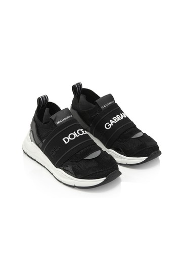 Dolce & Gabbana Baby Boys Black Leather Trainers