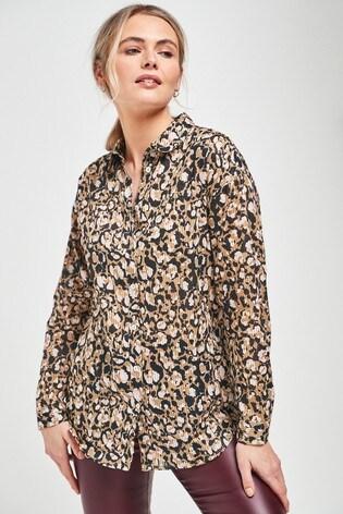 Neutral Animal Print Casual Shirt