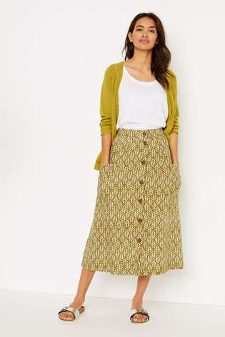 White Stuff Green Margarita Print Skirt