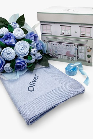 Babyblooms Luxury Blue Baby Clothes Bouquet and Personalised Baby Blanket