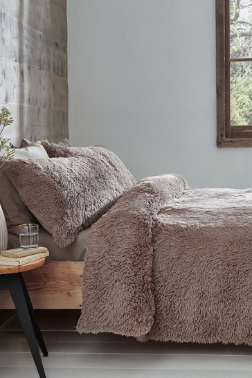 Catherine Lansfield Natural So Soft Cuddly Deep Pile Duvet Cover and Pillowcase Set