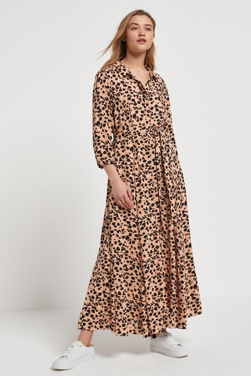 Animal Print Belted Maxi Shirt Dress