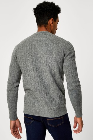 Jack Wills Grey Marlow Cable Crew Jumper
