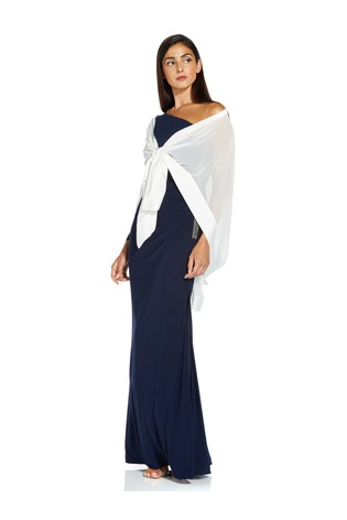 Adrianna Papell White Chiffon Cape Cover-Up
