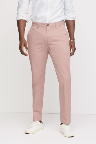 Pink Tapered Slim Fit Stretch Chinos