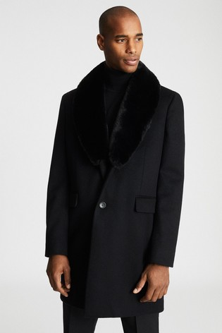 Reiss Black Lloyd Faux Fur Shawl Collar Coat