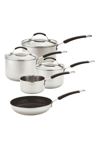 5 Piece Meyer Induction Stainless Steel Saucepan And Frypan Set