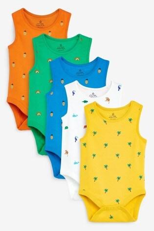 Multi 5 Pack Bright Vest Bodysuits (0mths-3yrs)