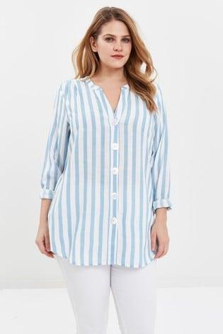 Evans Curve Blue Stripe Button Shirt