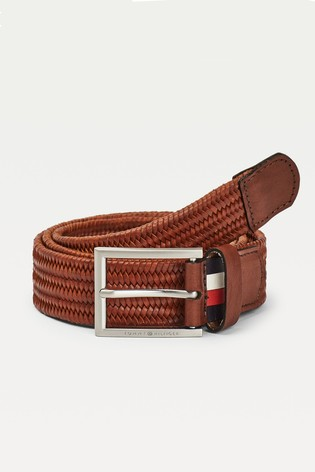 Tommy Hilfiger Brown Formal Braided Leather Belt