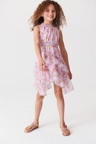 Lilac Print Maxi Tiered Dress (3-16yrs)