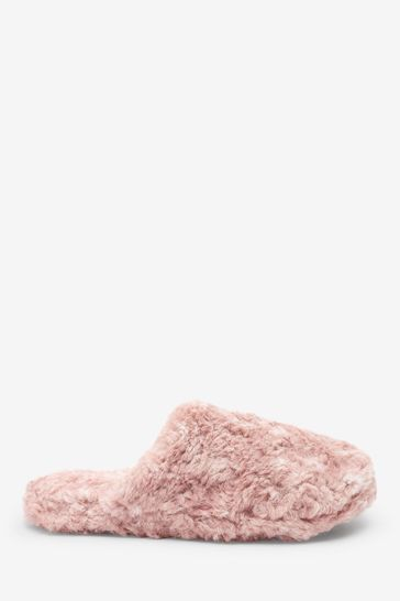 Pink Recycled Faux Fur Slippers