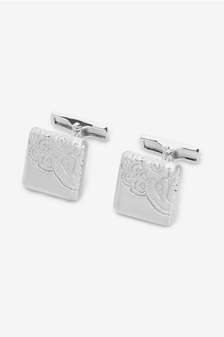 Silver Tone Paisley Cufflinks
