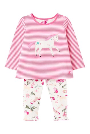 Joules Pink Unicorn Appliqué Set