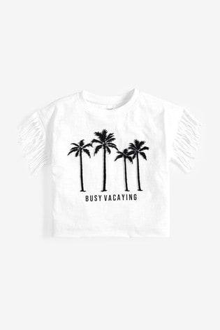 White Embroidered Palm Tassel T-Shirt (3-16yrs)