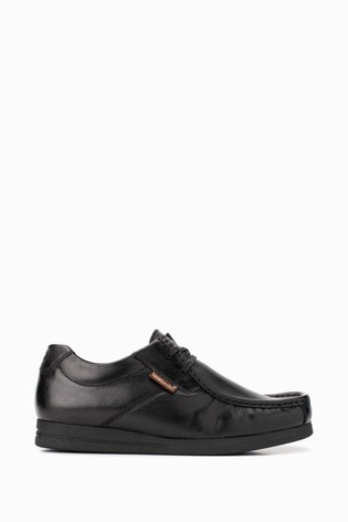 Base London® Black Event Waxy  Lace-Up Wallabee Shoes