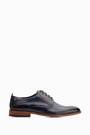 Base London® Blue Script Washed Lace-Up Shoes