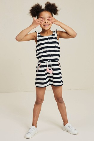 FatFace Blue Carly Block Stripe Playsuit