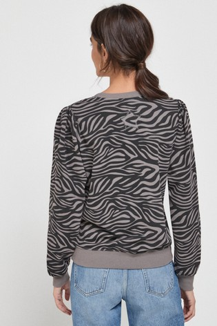 Grey Zebra Print Washed Sweatshirt
