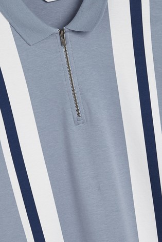 Blue/Navy Vertical Block Zip Neck Polo Shirt