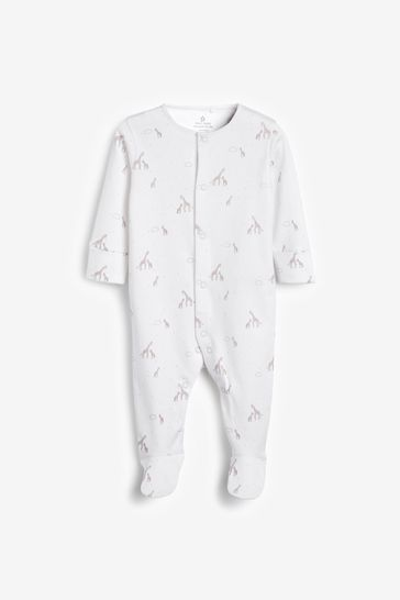 White 4 Pack GOTS Organic Delicate Multi Print Sleepsuits (0-2yrs)