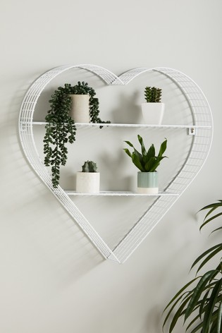 White Wire Heart Shelf