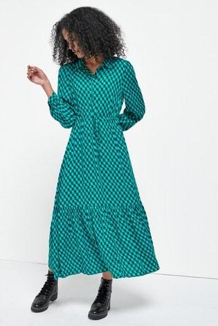 Blue Dogtooth Tie Waist Shirt Dress