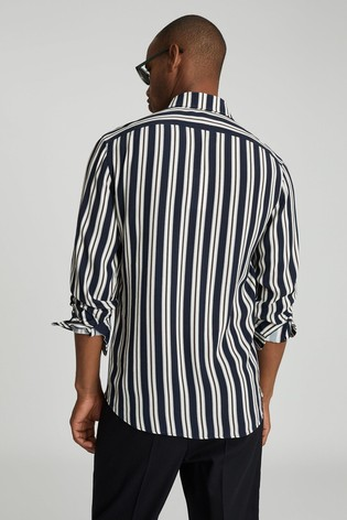 Reiss Blue Keanu Striped Shirt