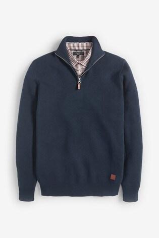 Navy Premium Mock Shirt Zip Jumper