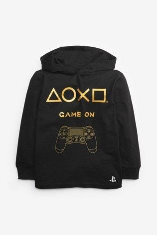 Black PlayStation™ Hooded T-Shirt (3-16yrs)