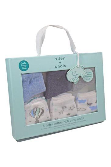 aden + anais Blue Baby Socks Six Pack Gift Set